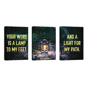 Light For My Path Triptych 24in x 36in Canvas Prints