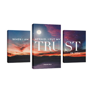 Psalm 56:3 Triptych 30in x 50in Canvas Prints