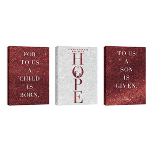 Christmas Brings Hope Sparkle Triptych 24in x 36in Canvas Prints