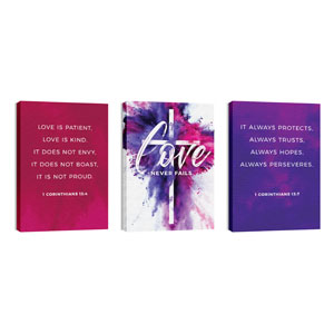 Love Never Fails Triptych 24in x 36in Canvas Prints