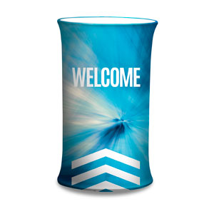 Chevron Welcome Blue Counter Sleeves Small Oval