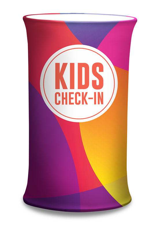 Counter Sleeves, Children's Ministry, Curved Colors Kids Check-In, Small Oval