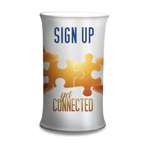 Connected Sign Up Counter Sleeves Small Oval
