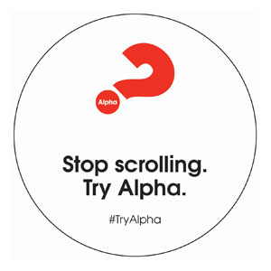 Alpha Stop Scrolling Circle InviteCards