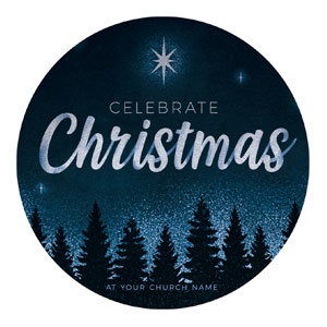 Christmas Forest Silhouette Circle InviteCards
