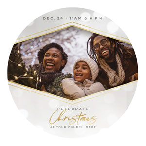 Family Celebrate Christmas Circle InviteCards