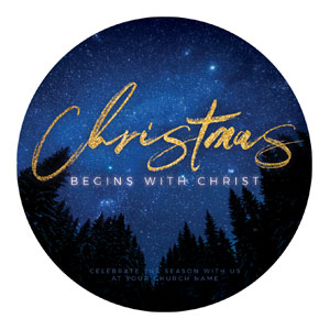 Night Sky Gold Script Christmas Circle InviteCards