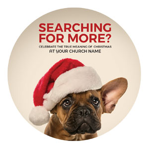 Santa Hat Puppy Circle InviteCards