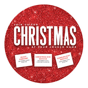 Red Glitter Christmas Circle InviteCards