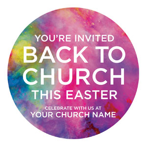 Back to Church Easter Circle InviteCards
