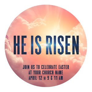 He Is Risen Bold Circle InviteCards