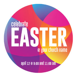 Curved Colors Easter Circle InviteCards