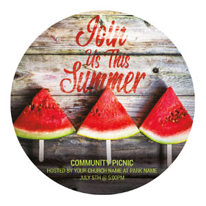 Summer Watermelon Events Circle InviteCards