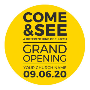 Yellow Grand Opening Circle InviteCards