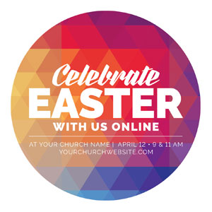 Geometric Bold Easter Online Circle InviteCards