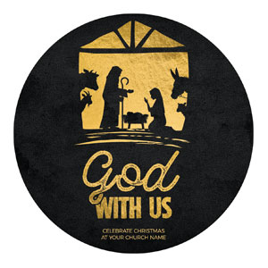 God With Us Gold Circle InviteCards