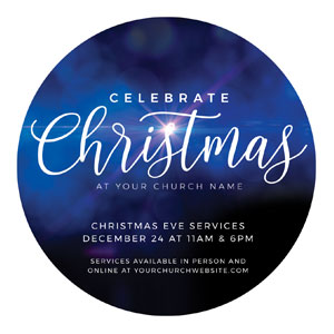 Celebrate Christmas Blue Sparkle Circle InviteCards