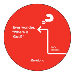 Alpha Arrow Where is God Red Circle InviteCards