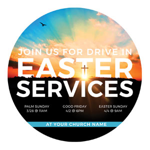 Drive In Easter Services Circle InviteCards