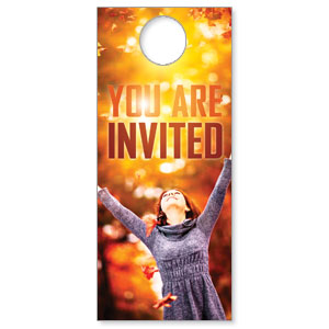 Church Door Hanger You Re Invited Fall Outreach Marketing