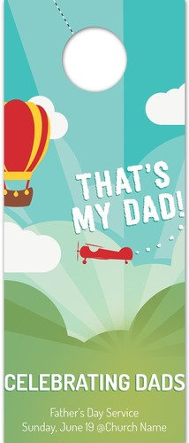 Door Hangers, Father's Day, Thats My Dad, Standard size 3.625 x 8.5, with 3 per 8.5 x 11 sheet