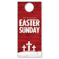 Easter Wood Red Door Hanger
