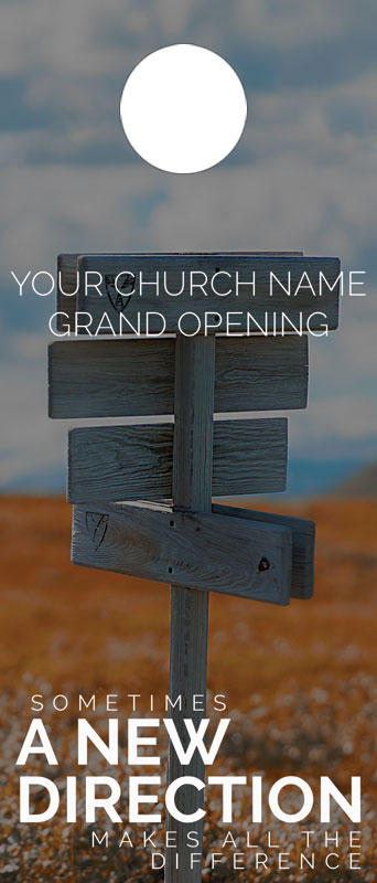 A New Direction Door Hanger Church Invitations