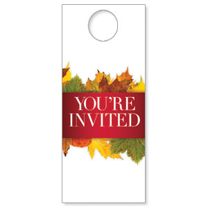 Leaves Youre Invited Door Hangers