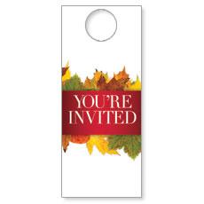 Leaves Youre Invited Door Hanger