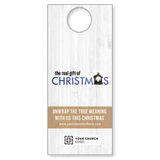 UMC Christmas White Wood Door Hanger