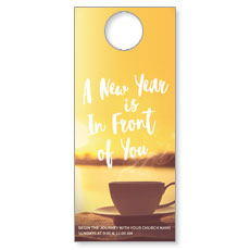 New Year Coffee Cup Door Hanger