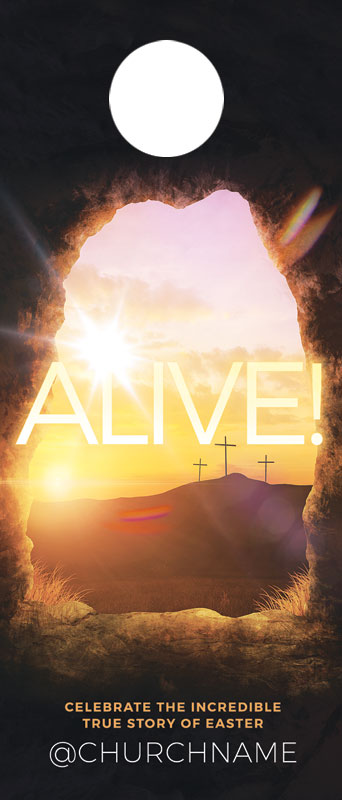 Door Hangers, Easter, Alive Sunrise Tomb, Standard size 3.625 x 8.5, with 3 per 8.5 x 11 sheet