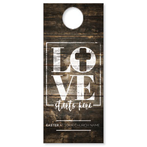 Love Starts Here Wood DoorHangers
