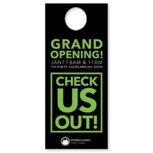 CityReach Black and Green Door Hangers