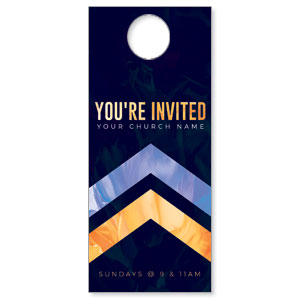 Invited Gold Purple Chevron Door Hangers