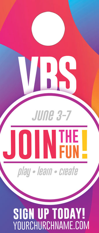 Door Hangers, VBS / Camp, Curved Colors VBS Join the Fun, Standard size 3.625 x 8.5, with 3 per 8.5 x 11 sheet
