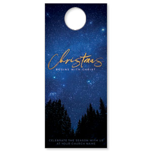 Night Sky Gold Script Christmas DoorHangers