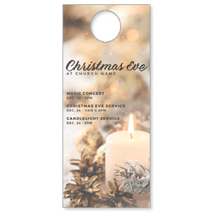 Christmas Eve Snowy Candle DoorHangers