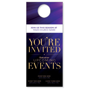 Purple Custom Invite DoorHangers