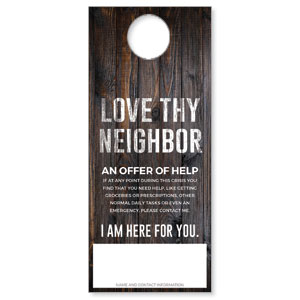 Dark Wood Love Thy Neighbor DoorHangers