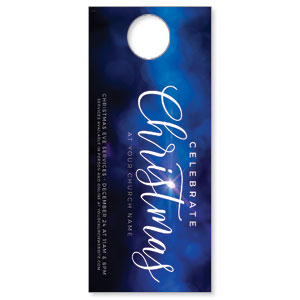 Celebrate Christmas Blue Sparkle DoorHangers