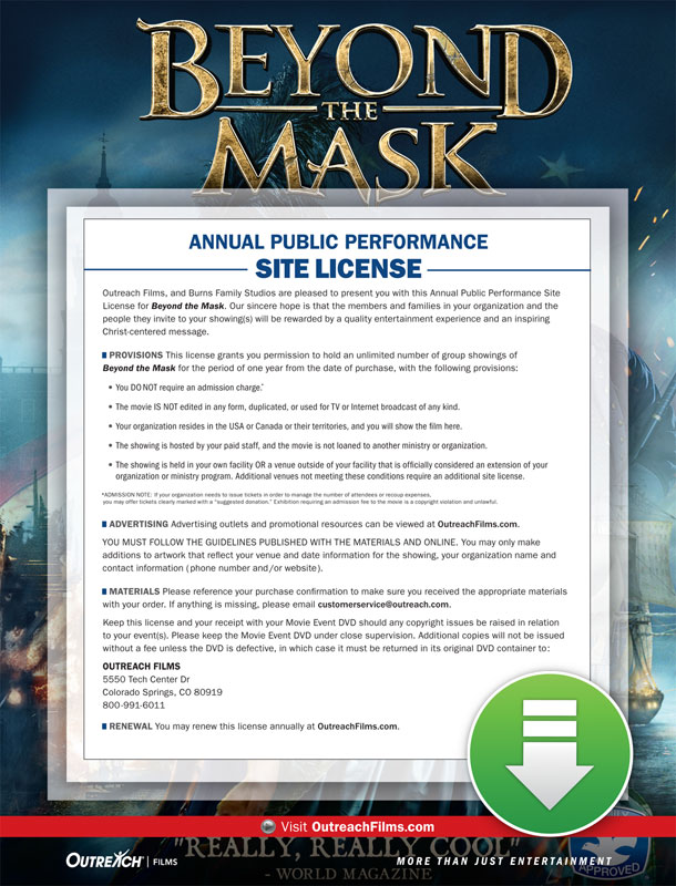 Movie License Packages, Films, Beyond the Mask Digital License - Standard, 100 - 1,000 people  (Standard)