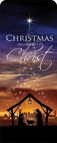christmas begins christ banner - church banners
