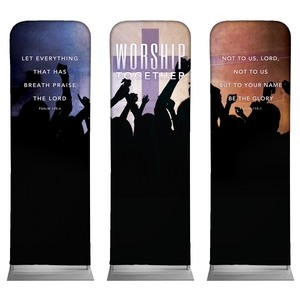 Worship Loud Triptych 2 x 6 Sleeve Banner