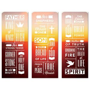 "Phrases Trinity Triptych 2'7"" x 6'7"" Sleeve Banners"