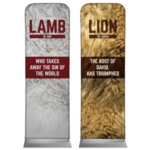 Lamb and Lion Pair 2 x 6 Sleeve Banner