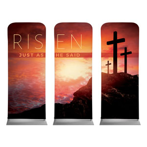 "Risen Crosses Triptych 2'7"" x 6'7"" Sleeve Banners"