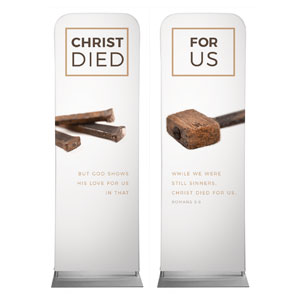 Died For Us Rom 5:8 2 x 6 Sleeve Banner