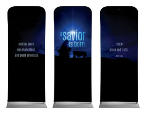 Blue Savior Born Banners
