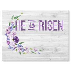 He Is Risen Purple Flowers Banner